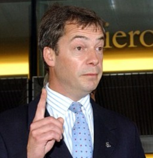 Member of the United Kingdom Independence Party (UKIP) Nigel Farage, left, gestures while talking to the media  with colleague Roger Knapman, right, leader of the UKIP party upon their arrival  at the European Parliament in Brussels, Wednesday June 23, 2004. (AP Photo/Thierry Charlier)