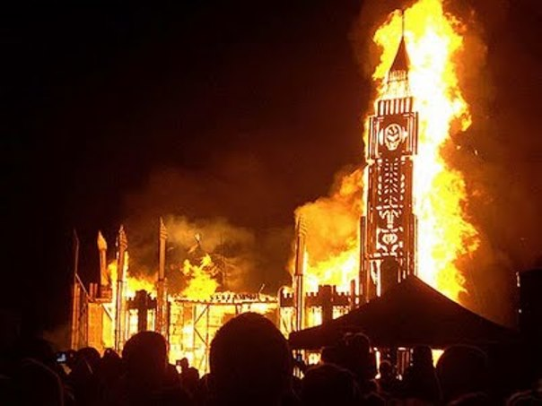 Parliament burning