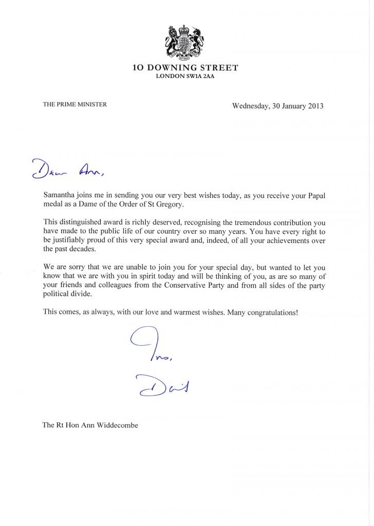Ann Widdecombe - Cameron letter