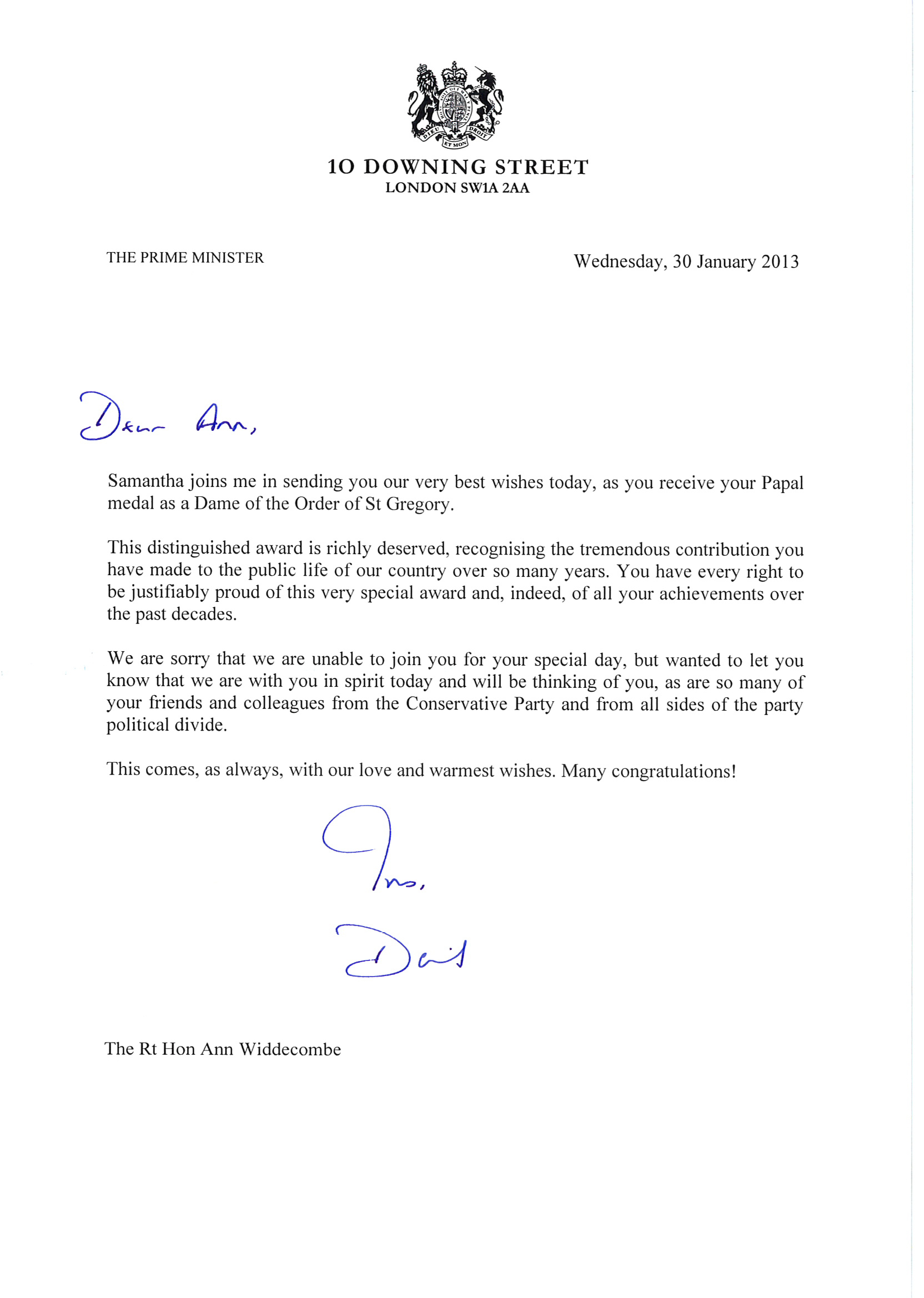 Camerons gay marriage dilemma and his love for ann widdecombe ann widdecombe cameron letter spiritdancerdesigns Image collections