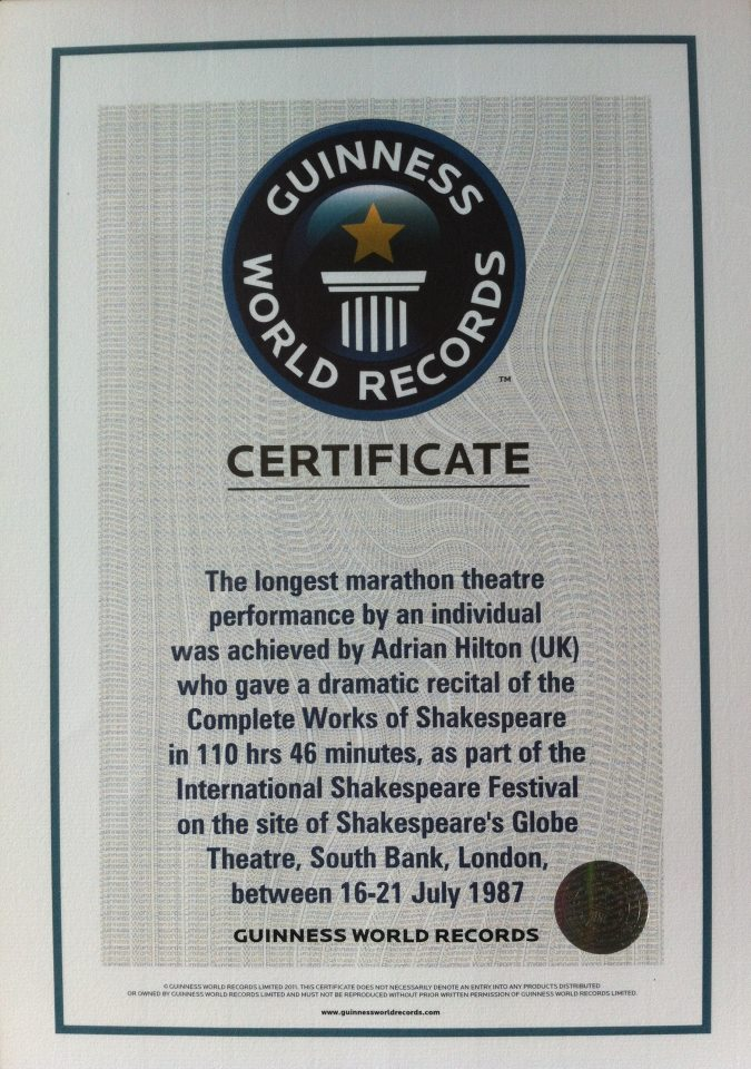 Guinness Word Record certificate