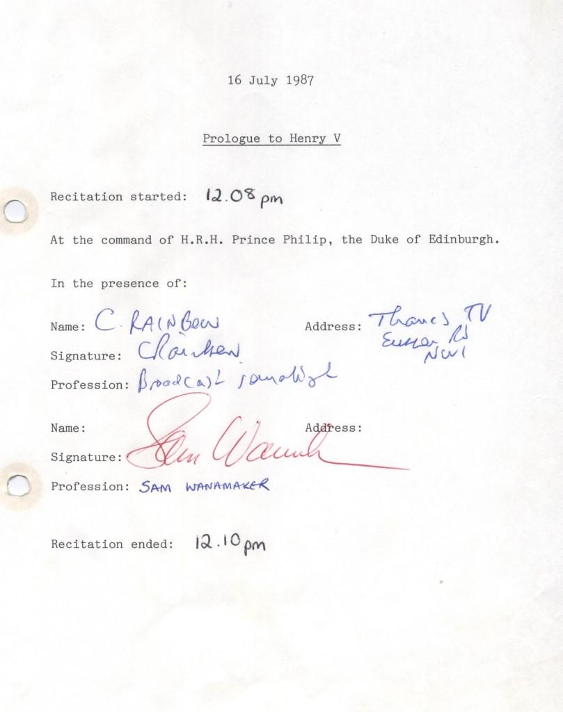 Sam Wanamaker signature